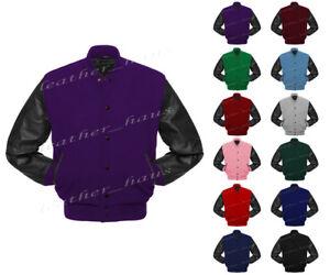 Superb Genuine Leather Sleeve Letterman College Varsity Wool Jackets #BSL_LE