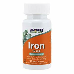 NOW Supplements, Iron 18 mg, Non-Constipating* Mineral, 120 Veg Capsules
