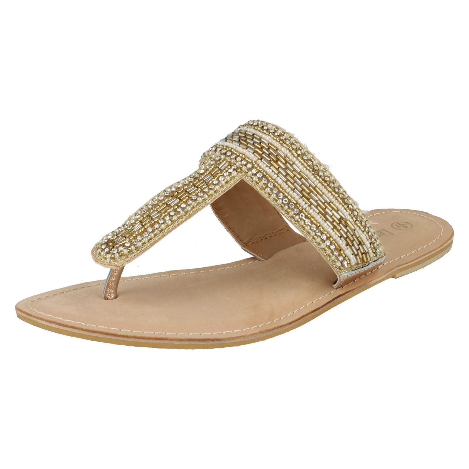 SALE Leather Beaded Collection F0895 Ladies Gold Beaded Leather Leather Toe Post Sandals 9bea5a