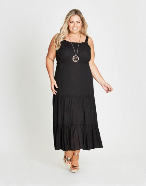 Autograph Black tiered beach holiday party Maxi dress short sleeve 20 NEW