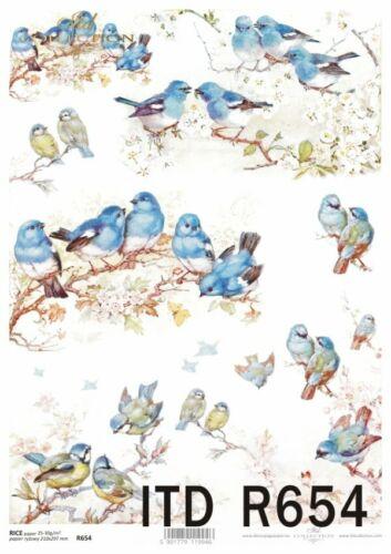 Reispapier-Motiv Strohseide-Decoupage-Shabby-Vintage-Vögel-Vogel-R0654