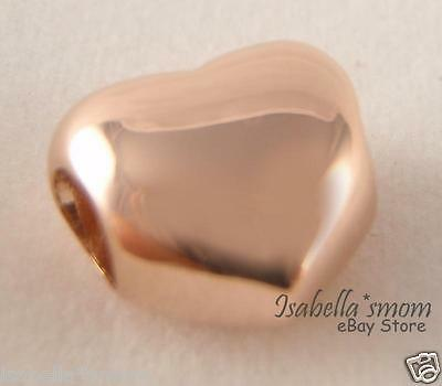 SMOOTH Puffy HEART Authentic PANDORA Rose GOLD Plated CHARM 781376 NEW