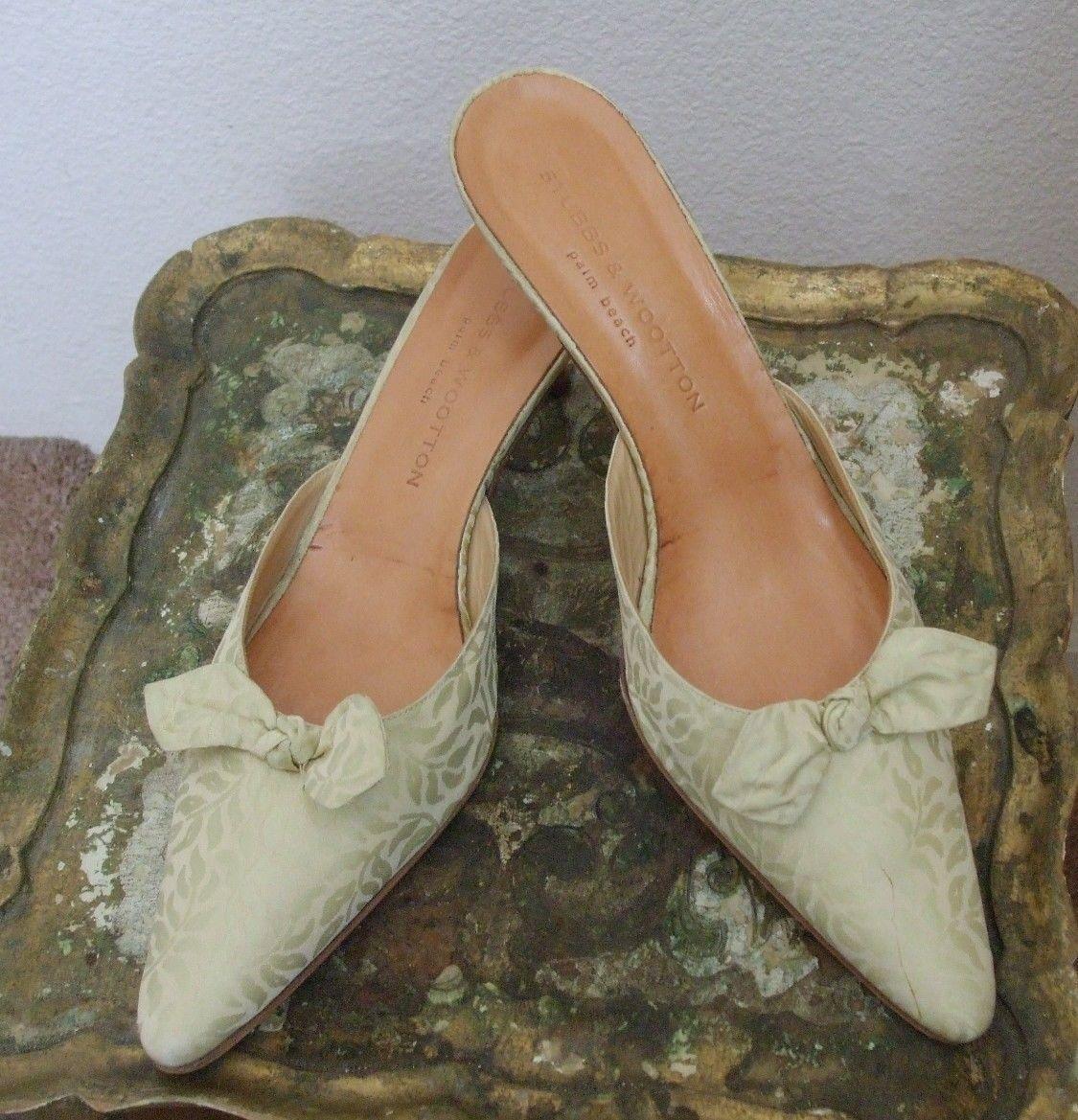 Stubbs & Wootton Palm Beach Talla 9.5 9.5 9.5 brocado de seda pastel verde mula para mujeres Zapatos  en stock
