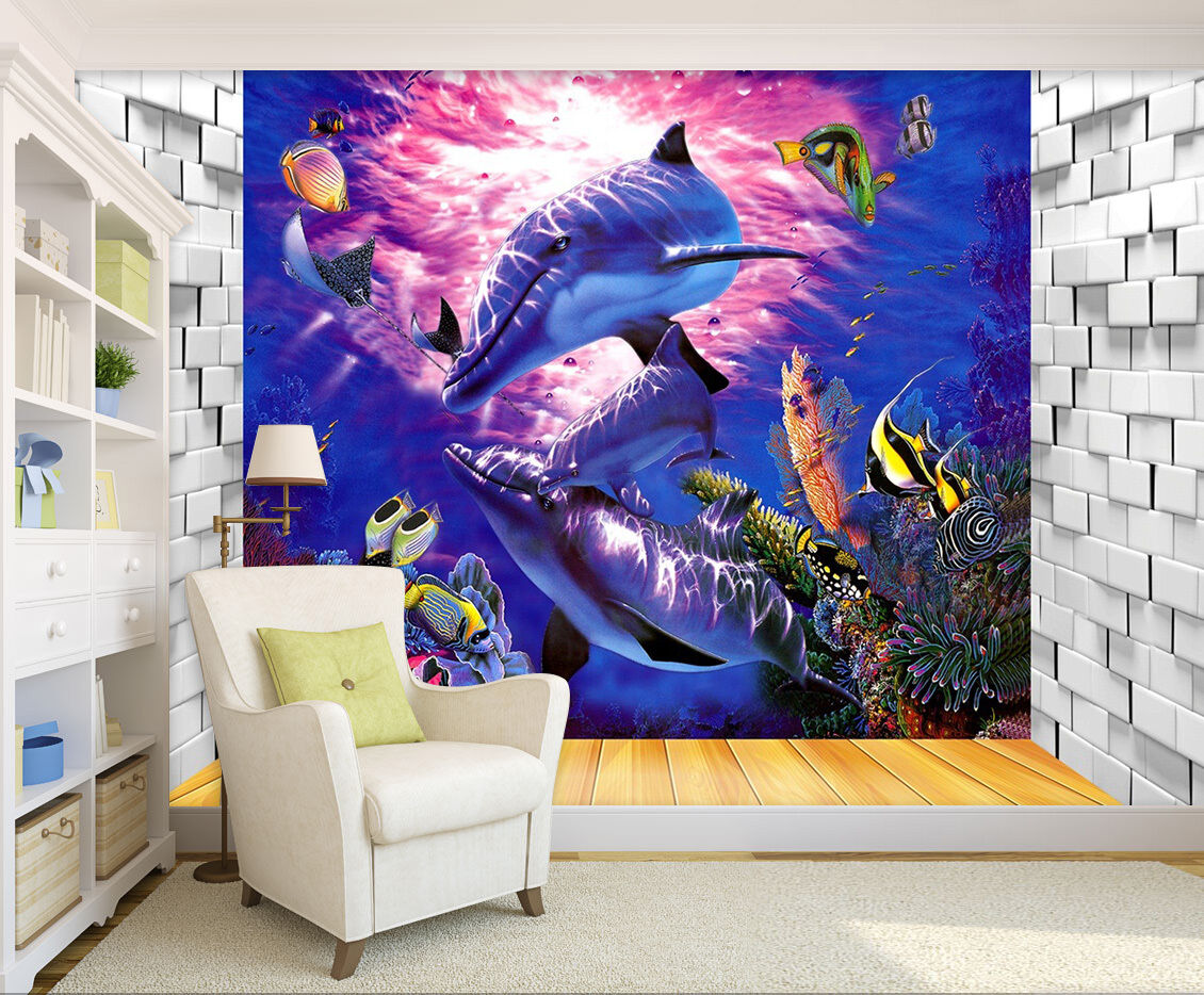 3D Smart dolphins 434 Wall Paper Print Wall Decal Deco Indoor Wall Murals