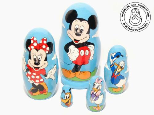 Personalizzata Mickey Mouse bambole di nidificazione matryoshka 6.75 in.
