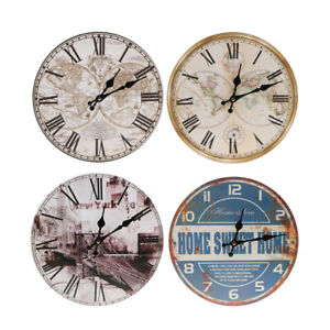 Wall Clock Wooden Rustic Retro Shabby Chic Home Kitchen Decor Art Gifts #3