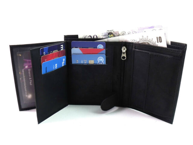 New Quality Soft Black Real Leather Wallet TWO FREE RFID CARD PROTECT SLEEVES