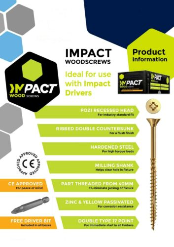 Multi Purpose Impact Vis à Bois Pozi Tailles 3.0 x 10 mm Upto 6.0X200MM