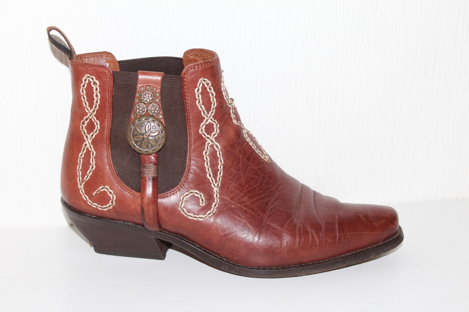 80er Vintage Cuir Bottines Boots Pistol Booties Booties Booties 38 80 S uk5 Motard 80 S 30a829