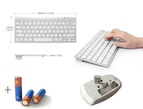 """White Wireless Mini Keyboard and Mouse for /"""" SAMSUNG QE55Q6FAMT 55/"""" SMART TV"""