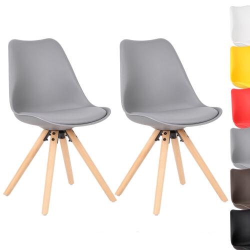2 x Chaises de salle à manger chaise de cuisine avec dossier bois cuir synthétique gris bh52gr-2
