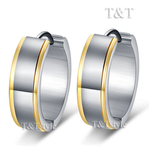 T&T Stainless Steel Gold Stripe THICK Huggie Earrings Extra Large 21mm (EG40)