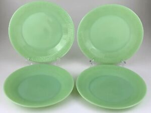 Set of 4 Jadeite Luncheon Lunch Plates Ribbed Fire King Oven Glass U270