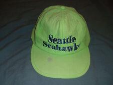 VTG 80's ASIS Seattle SEAHAWKS beach cap nylon lime green neon hat snapback NFL