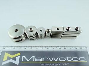 neodym magnet mit bohrung und senkung n45 magnete mit loch w hlbar ebay. Black Bedroom Furniture Sets. Home Design Ideas