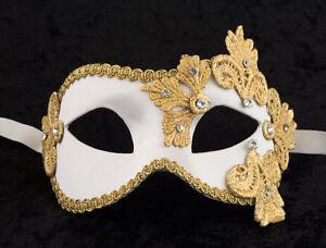 Mascara-De-Venecia-Columbine-Macrame-Blanco-Dorado-Saten-Y-Papel-Mache-2123-V43