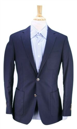 Suit Supply Navy Cotton Patch Pocket Blazer 40R