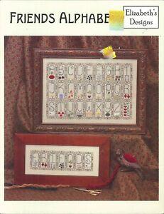 Friends-Alphabet-Cross-Stitch-Pattern-Leaflet-Elizabeth-039-s-Designs-2003