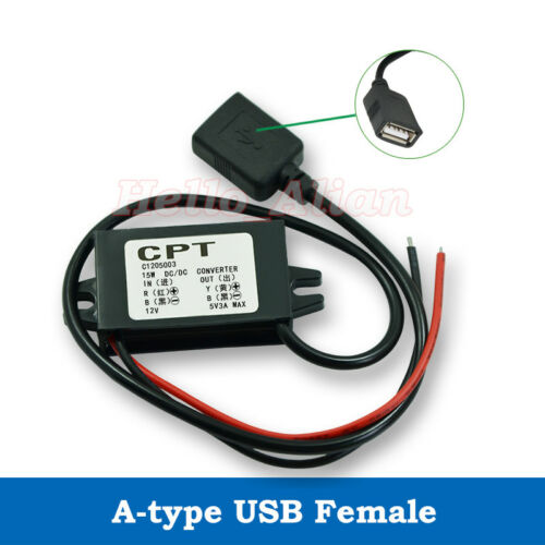 DC-DC Buck Step Down Converter 9V 12V to 5V 3A 15W USB Charger Car Power Module