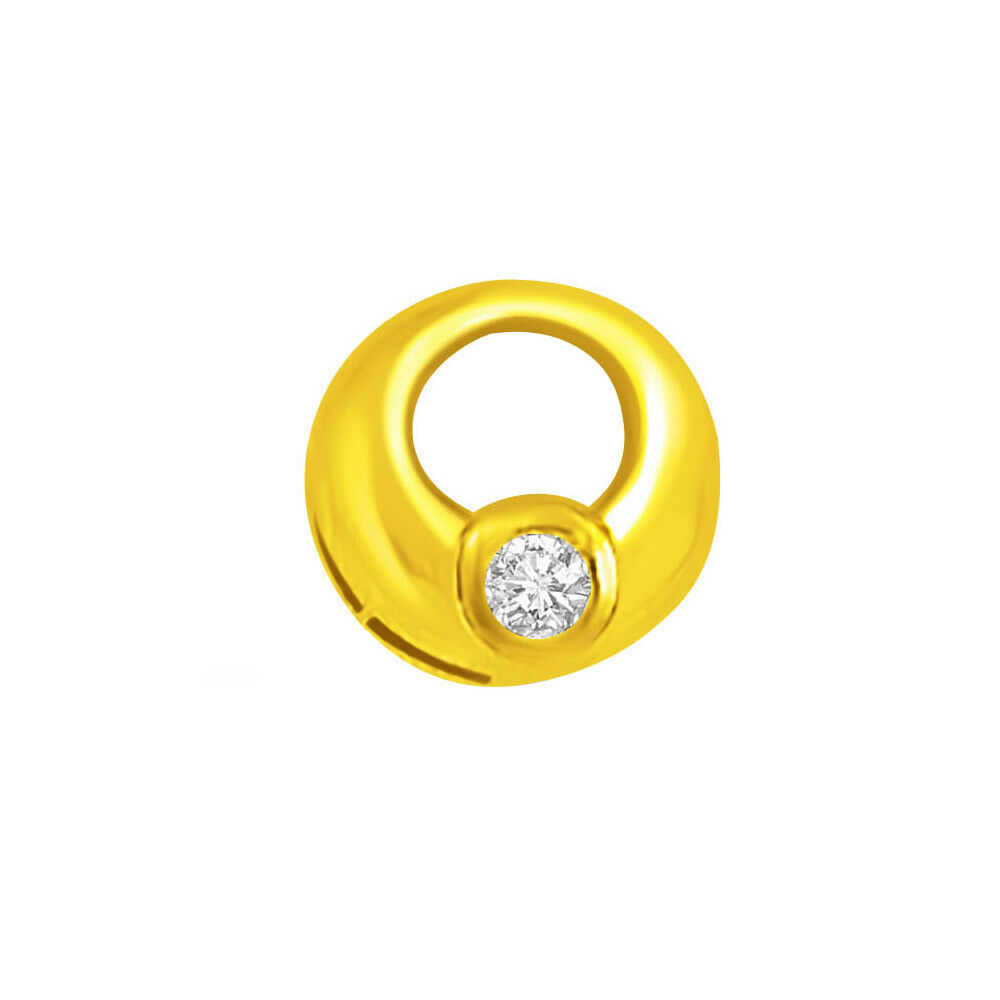 Ring shaped Real Natural Solitaire Diamond Pendant in 18kt Yellow gold P772