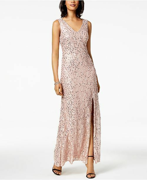 379 ADRIANNA PAPELL WOMEN'S PINK SEQUINED LACE SLIT GOWN DRESS 8