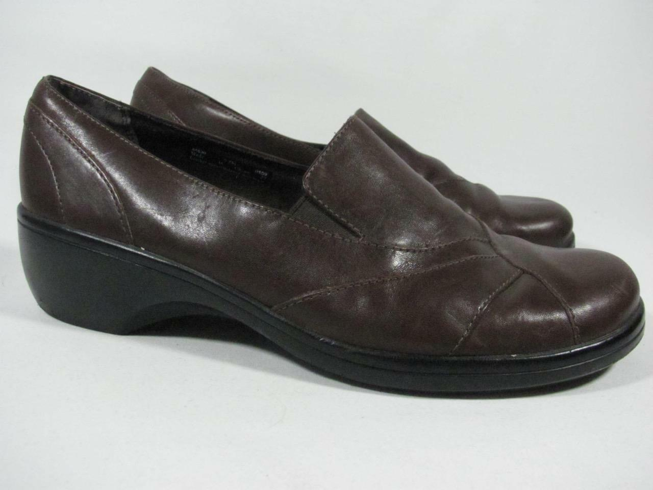 Clarks Wedge Loafer Loafer Wedge Women size 9 Brown Leather 7b09c0