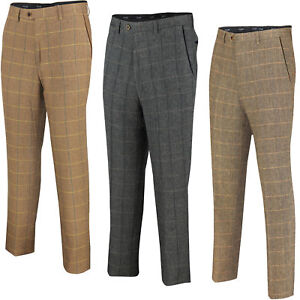 Mens Tweed Check Trousers Oak Brown Tailored Fit Classic Retro Vintage