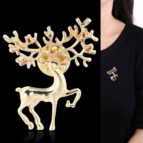 Broche Hirsch Reh Gold-de colores prendedor pin alce cuerna Trachten joyas nuevo