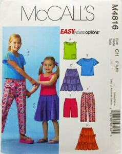 Girls-Skirt-Top-Shorts-Capri-Pants-Sewing-Pattern-M4816-Size-8-McCalls-Easy
