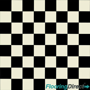 Black White Square Tile Chessboard Vinyl Flooring Kitchen Lino - Black and white square vinyl flooring