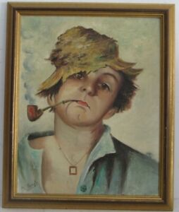 VINTAGE-ITALIAN-PORTRAIT-OF-YOUNG-BOY-SMOKING-PIPE-PAINTING-O-C