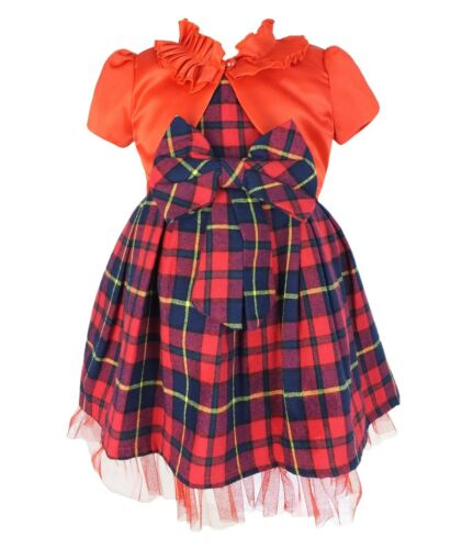 Toddler Infant Baby Girls Kids tartan Highland Parti robe rouge set de Noël