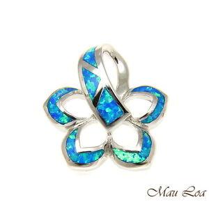 argento-sterling-925-rodio-HAWAIANO-Plumeria-Fiore-Blu-Opale-a-scivolo-ciondolo