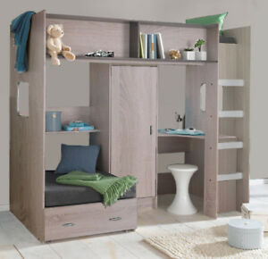Details About Rutland Cabin High Sleeper Bed With Pullout And Futon Mattresses Oak R043oak