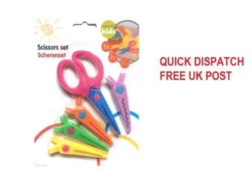 New Children Craft Scissors Safe For Kids Different Patterns Card Making UK