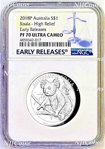 2018-P-Australia-HIGH-RELIEF-1oz-Silver-Koala-1-Coin-NGC-PF70-ER-LABEL-COA