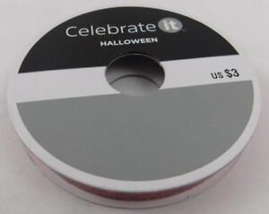 Celebrate-It-Halloween-Narrow-Ribbon-Red-Glitter-3-8-in-x-15-ft-New-Sparkle