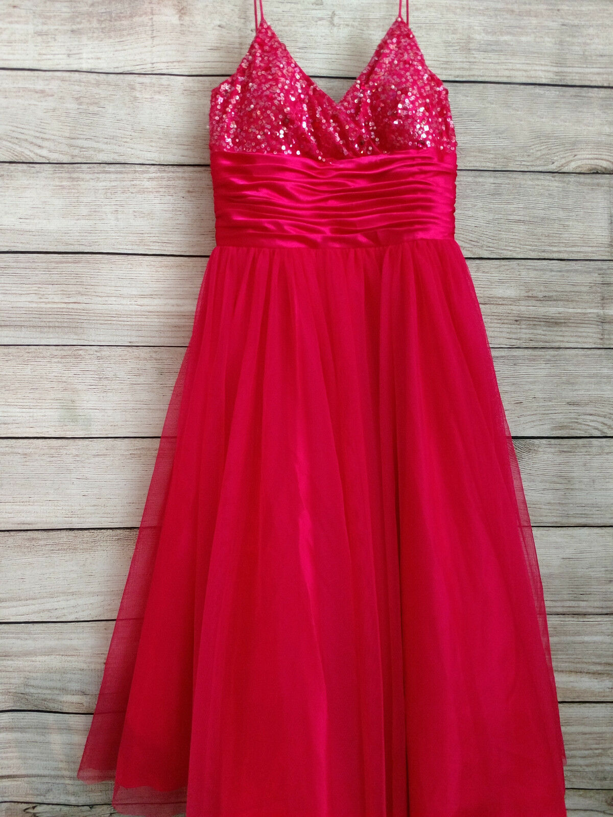 French Laundry Hot Pink w/Sequins Prom Dress Homecoming Party Juniors Size 3/4