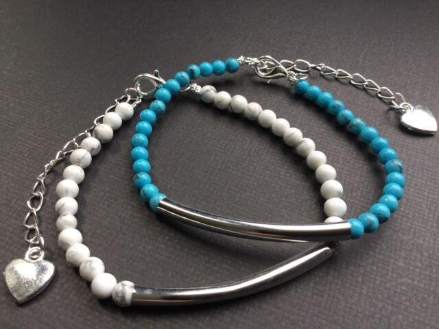 Piedras Preciosas Con cuentas Pulsera con Corazón Blanco Rosa Verde Azul Y Turquesa perlas