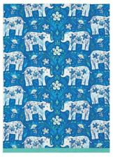 Item 4 Sarah Watts Blue Teal Floral Elephant Delft Designer Kitchen Dish  Hand Tea Towel  Sarah Watts Blue Teal Floral Elephant Delft Designer  Kitchen Dish ...