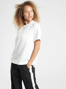 NWT Athleta XS Bright White Waterfall Top Easy Care Lightweight