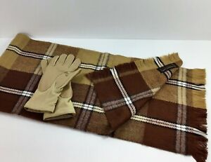 Driving-Gloves-Vtg-Taiwan-Womens-Plaid-Acrylic-Scarf-By-CASHMERE-LOOK-Camel-Warm