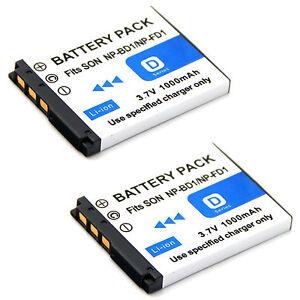 2x Battery For Np Bd1 Sony Cyber Shot Dsc T70 Dsc T700 Dsc