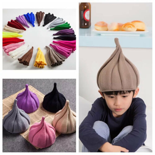 Funny Kids Knitted Pointy Beanie Hat Winter Boy Girl Twisted Crochet Pointed Cap