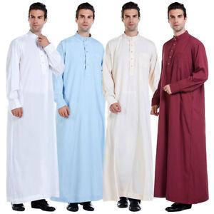 Lopty Mans Long Sleeve Solid Saudi Arab Islamic Muslim Dubai Robe for Boys