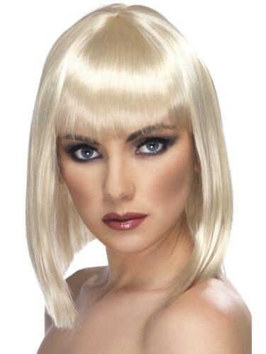Blonde Glam Wig Short Blunt with Fringe Adult Womens Fancy Dress New