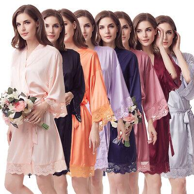 Women S Floral Bride Bridesmaids Robe Satin Wedding Kimono Bridal Dressing Gown Ebay