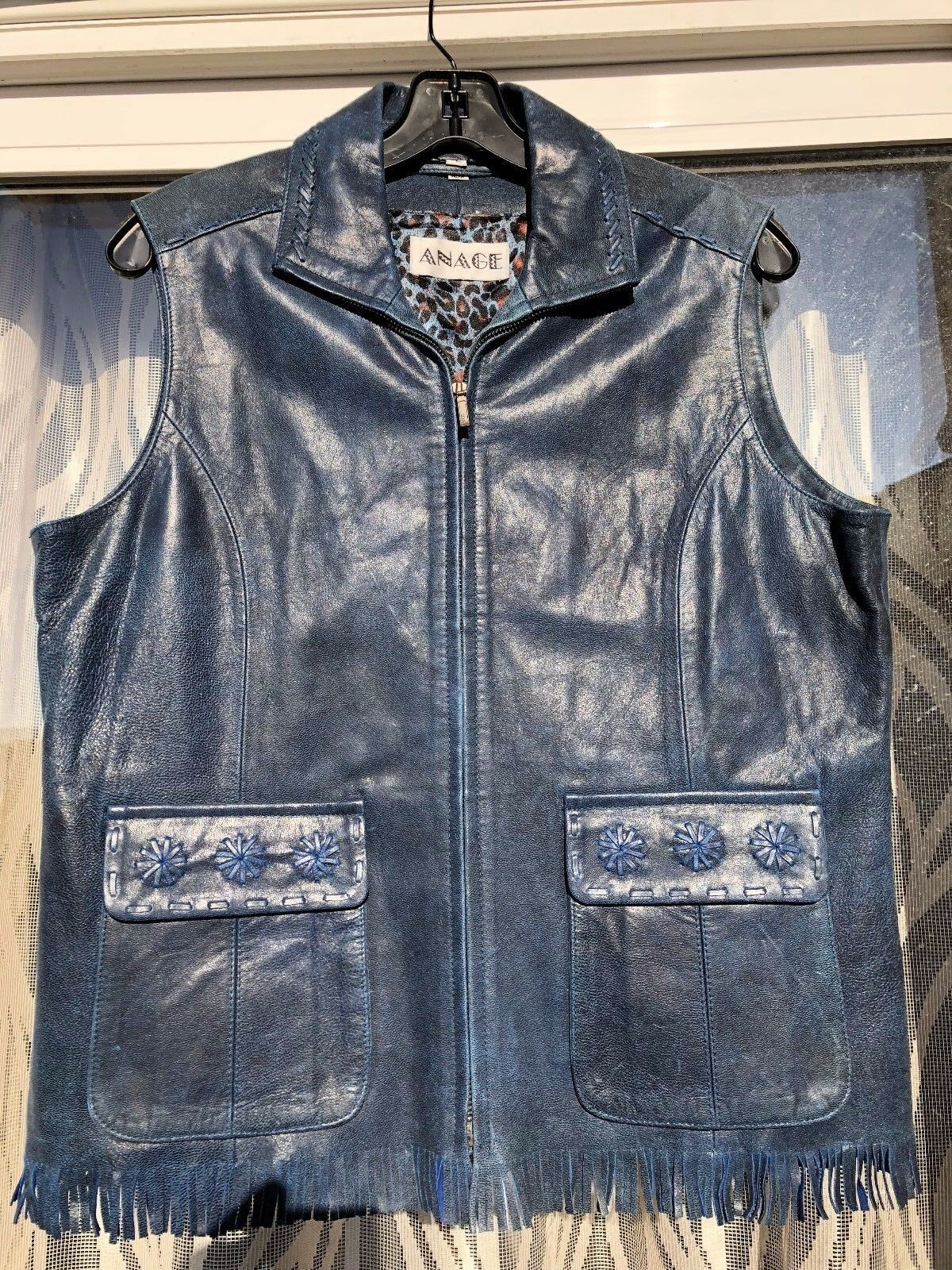 Ladies Anage  Leather bluee Large  Vest