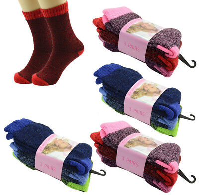 3 pair Women Winter Warm Heavy Duty Crew Socks Bedding Socks Thermal Soft Socks
