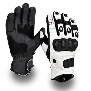 White-Short-Leather-Knuckle-Protection-Motorbike-Motorcycle-Gloves